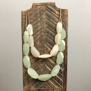 Jewelry - Off White and Green Oversized Statement Necklace